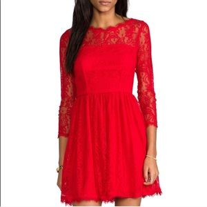 Size 0 Red 3/4 sleeve lace juicy couture dress
